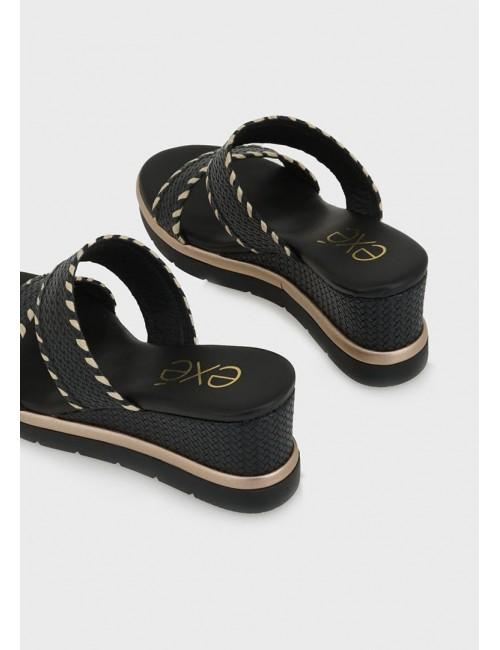 Γυναικείο παπούτσι flat EXE M47009303S41 οικολογικό δέρμα ΜΑΥΡΟ ΣΤΑΜΠΑ
